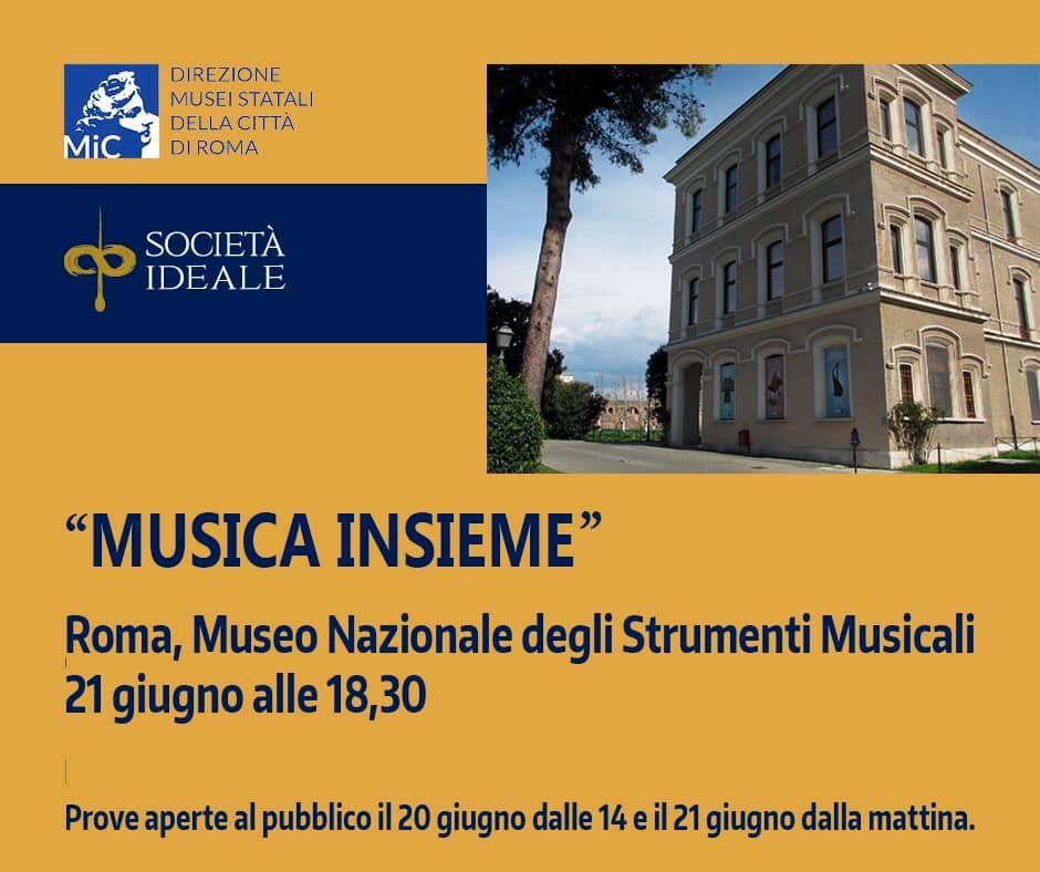 """21 giugno 2021 """"Festa della Musica"""" """"Musica Insieme"""" presso il Museo Nazionale degli Strumenti Musicali"""