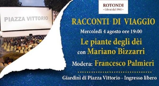 """4 agosto 2021 Presentazione del libro """"Le piante degli dei"""" a Piazza Vittorio"""