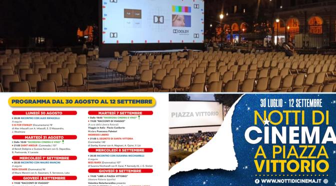 """""""Notti di Cinema a Piazza Vittorio"""": il programma fino al 12 settembre 2021"""